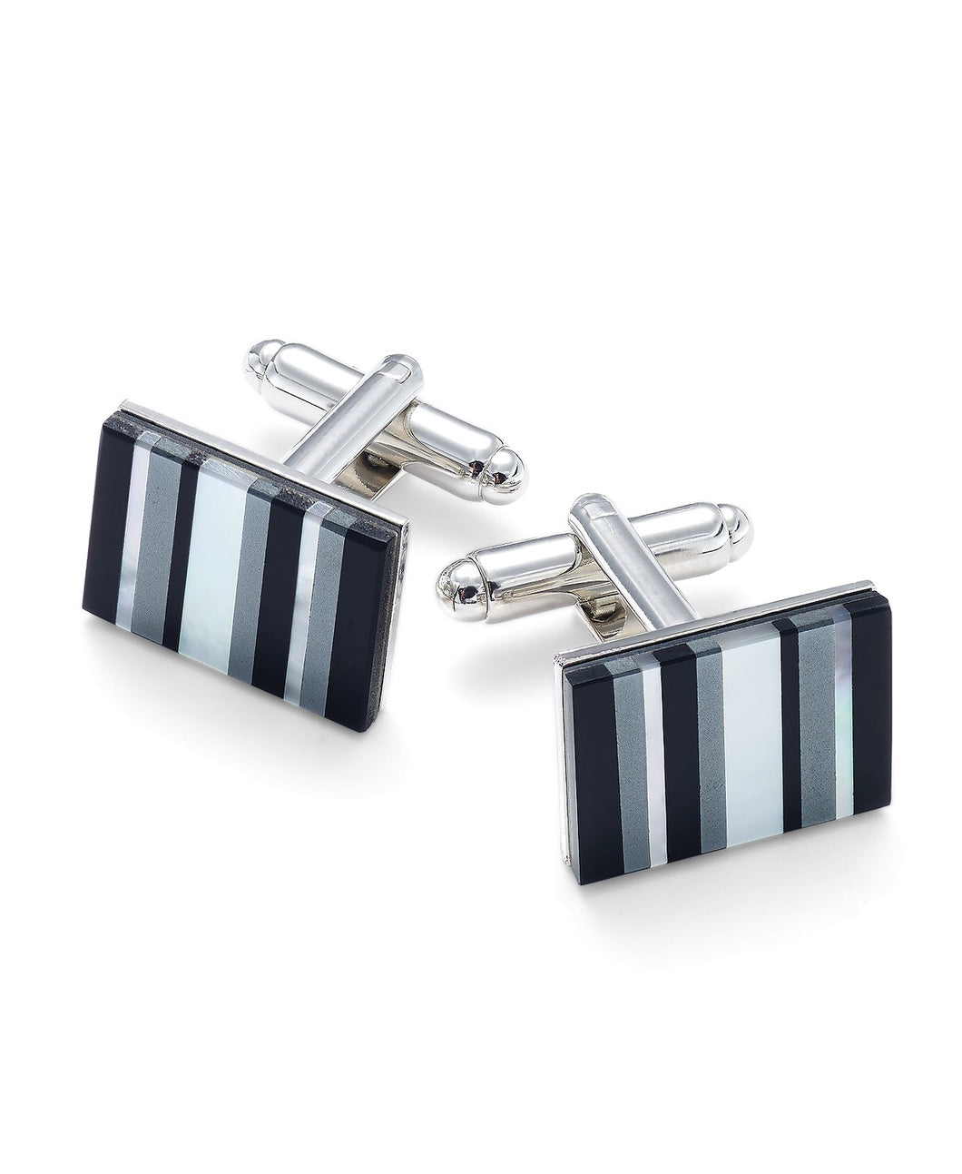 Men's Stainless Steel Multi-Stone Striped Cufflinks
