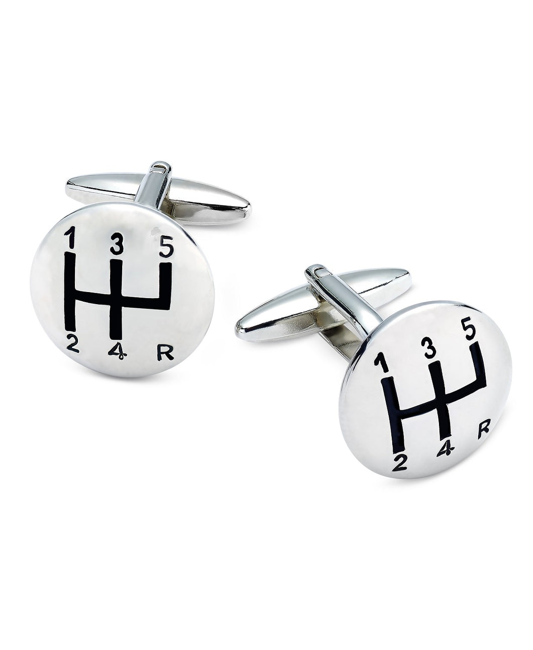 Men's Silver-Tone Gear Shift Cufflinks