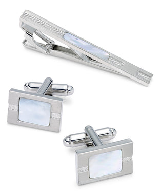 Men's Stainless Steel 3-Pc. Set Mother-of-Pearl Tie Clip & Cufflinks