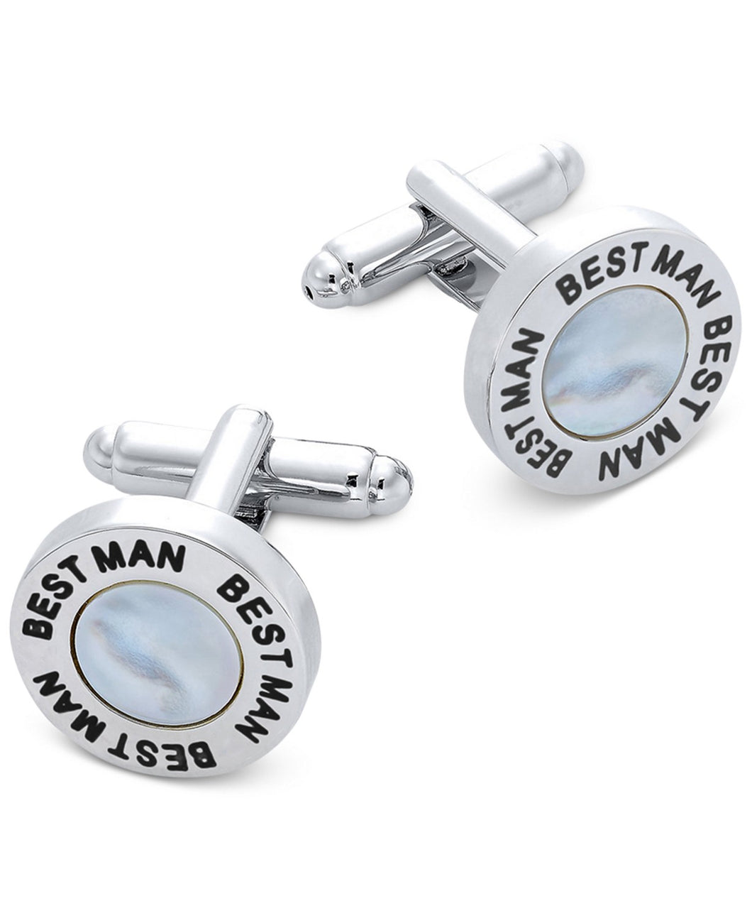 Sutton by Men's Silver-Tone & Imitation Mother-of-Pearl Best Man Cufflinks
