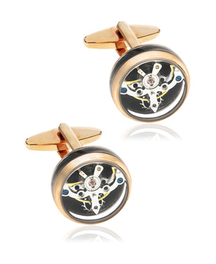 Men's Rose Gold IP Stainless Steel Clock Cufflinks