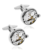 Load image into Gallery viewer, Men's Clock Gears Silver-Tone Cufflinks