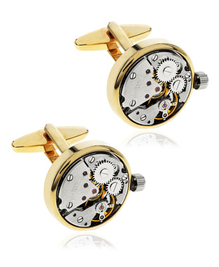 Men's Clock Gears Gold-Tone Cufflinks