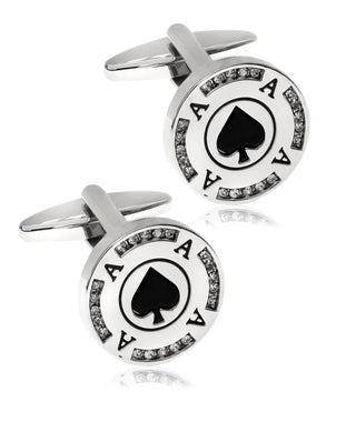 Sutton by Men's Silver-Tone Poker Chip Cufflinks