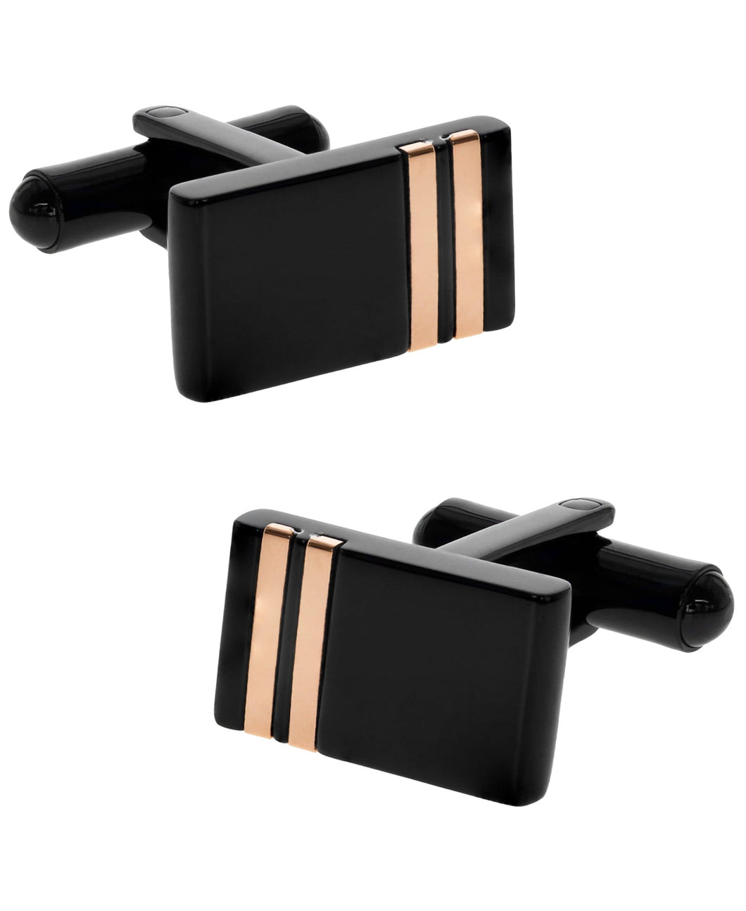 Sutton Stainless Steel Black Cufflinks with Double Rose Gold Stripe