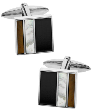 Sutton Sterling Silver Triple Stone Square Cufflinks