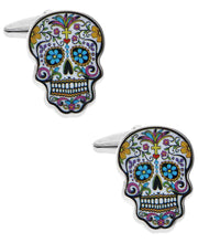 Load image into Gallery viewer, Sutton Silver-Tone Sugar Skull Cufflinks