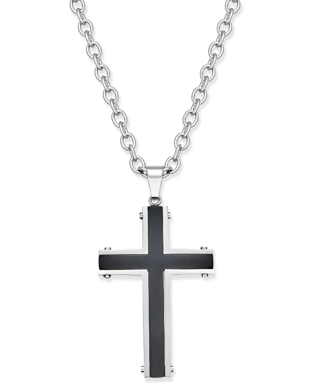 Men's Two-Tone Stainless Steel Cross Pendant Necklace