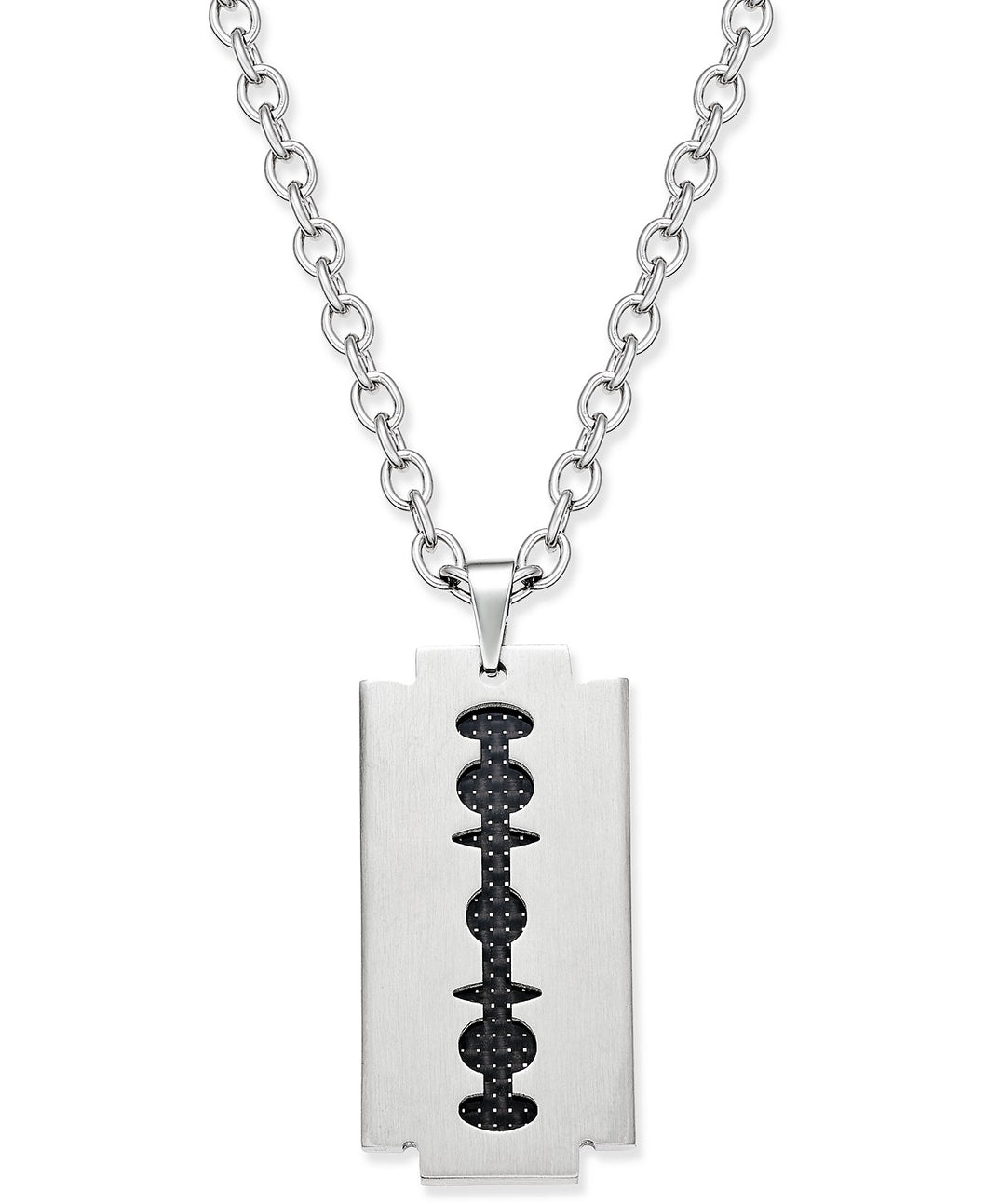 Men's Two-Tone Stainless Steel Blade Pendant Necklace