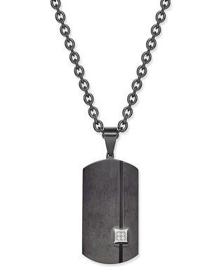 Men's Black Stainless Steel Pavé Dog Tag Pendant Necklace