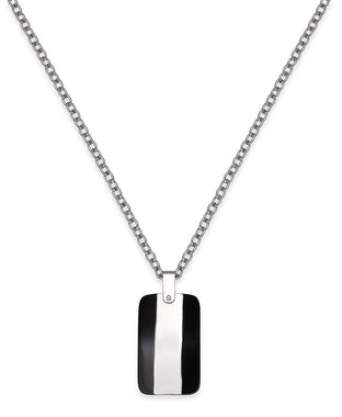 Men's Two-Tone Stainless Steel Dog Tag Pendant Necklace