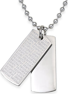 Men's Stainless Steel Double Dog Tag Pendant Necklace