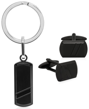 Sutton Black Stainless Steel Stripe Cufflinks and Key Ring Set