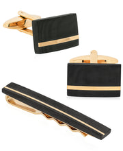 Load image into Gallery viewer, Sutton Gold-Tone Stainless Steel and Carbon Fiber Cufflink and Tie Clip Set