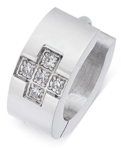 Men's Stainless Steel Cubic Zirconia Huggie Hoop Earring