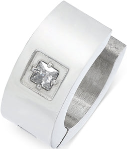 Men's Stainless Steel Cubic Zirconia Solitaire Huggie Hoop Earring