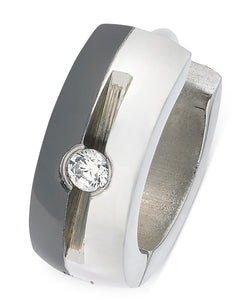 Men's Two-Tone Stainless Steel Cubic Zirconia Huggie Hoop Earring