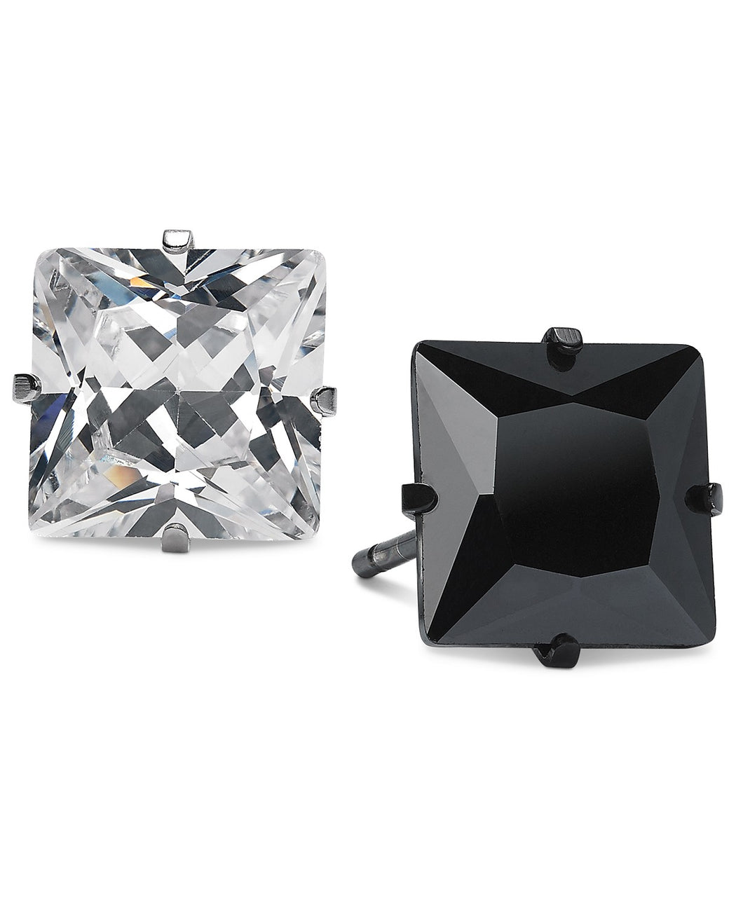 Men's Two-Tone 2-Pc. Set Square Cubic Zirconia Stud Earrings