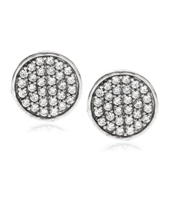 Men's Sterling Silver Crystal CZ Round Stud Earrings
