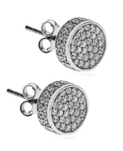 Load image into Gallery viewer, Men's Sterling Silver Crystal CZ Round Stud Earrings