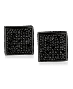 Men's Ruthenium Plated Sterling Silver Black CZ Square Stud Earrings