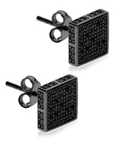 Load image into Gallery viewer, Men's Ruthenium Plated Sterling Silver Black CZ Square Stud Earrings