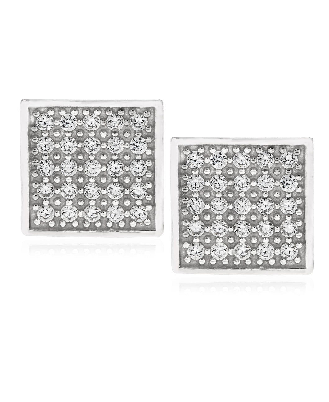 Men's Sterling Silver Crystal CZ Square Stud Earrings