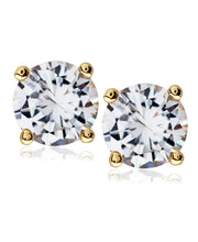Load image into Gallery viewer, Men's Gold-Tone Stainless Steel Round CZ Stud Earrings