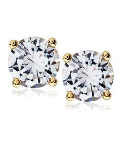 Men's Gold-Tone Stainless Steel Round CZ Stud Earrings