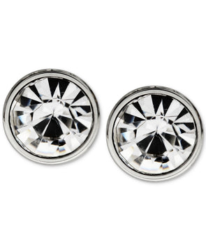 Men's Stainless Steel Round Stone Stud Earrings