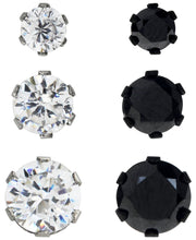 Load image into Gallery viewer, Sutton Stainless Steel Two-Tone Cubic Zirconia Stud Earrings Set of 3 Pairs