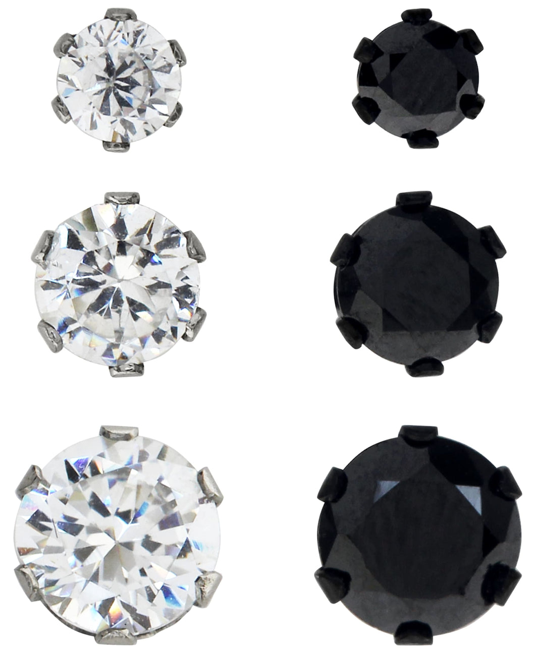 Sutton Stainless Steel Two-Tone Cubic Zirconia Stud Earrings Set of 3 Pairs