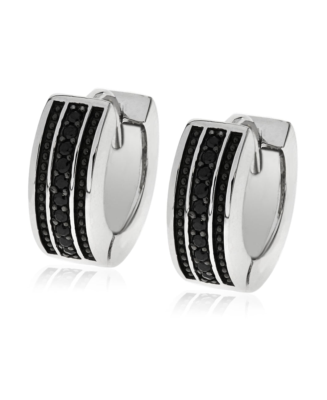 Men's Sterling Silver Black CZ Hoop Earrings
