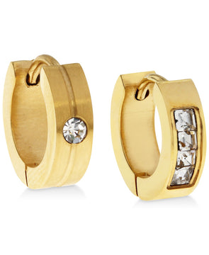 Men's Gold-Tone Stainless Steel & Cubic Zirconia Mismatch Hoop Earring