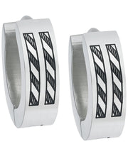 Load image into Gallery viewer, Sutton Stainless Steel Etched Stripes Huggie Earring Set