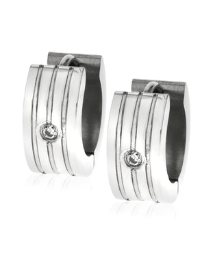 Sutton Men's Stainless Steel Huggie Earring Set