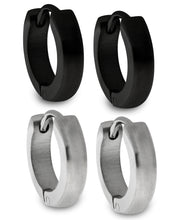 Load image into Gallery viewer, Sutton Stainless Steel and Black Huggie Earrings Set of 2 Pairs