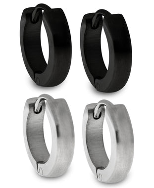Sutton Stainless Steel and Black Huggie Earrings Set of 2 Pairs