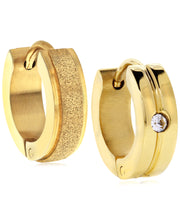 Load image into Gallery viewer, Sutton Gold-Tone Stainless Steel Matte Glitter and Stone Huggie Earrings