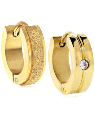Sutton Gold-Tone Stainless Steel Matte Glitter and Stone Huggie Earrings