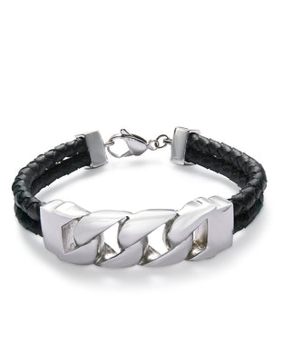 Men's Stainless Steel Black Leather Bracelet
