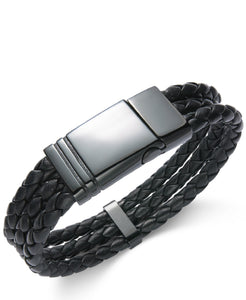 Men's Black Stainless Steel Triple Row Braided Leather Bracelet