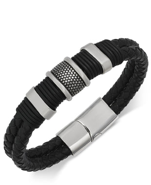 Men's Stainless Steel & Leather Bracelet