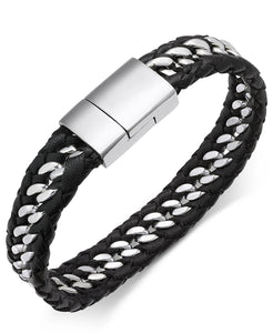 Men's Stainless Steel & Leather Woven Bracelet