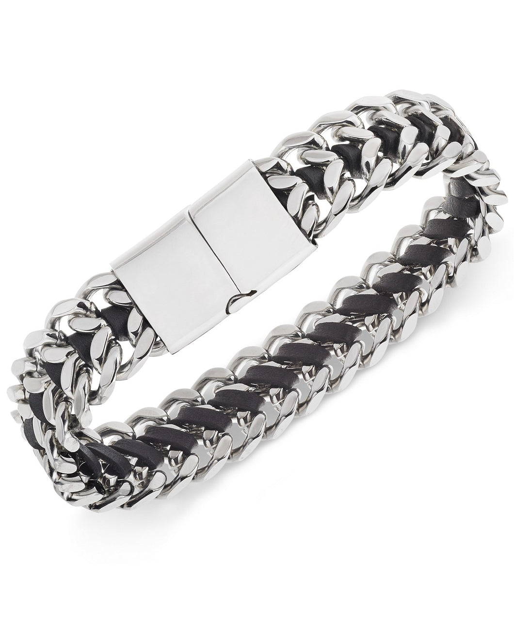 Men's Stainless Steel Woven Leather Bracelet