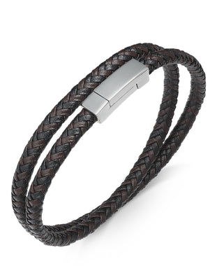 Men's Stainless Steel and Braided Leather Wrap Bracelet