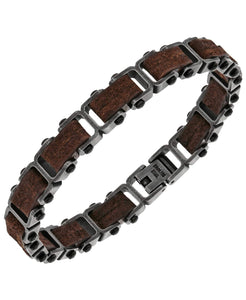 Sutton Stainless Steel Gunmetal and Brown Leather Link Bracelet