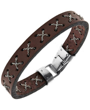 Load image into Gallery viewer, Sutton Stainless Steel Crossed Chain Brown Leather Bracelet