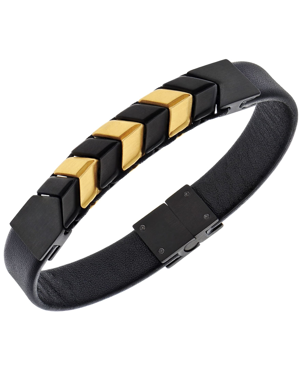 Sutton Stainless Steel and Leather Two-Tone Chevron Bracelet