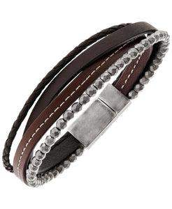 Sutton Stainless Steel Brown Leather and Hematite Multi-Strand Bracelet